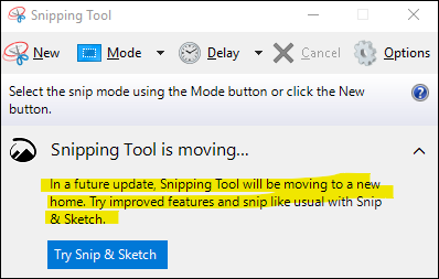 Snipping Tool is moving dialog