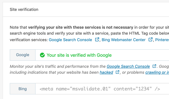 WordPress Jetpack Site verification