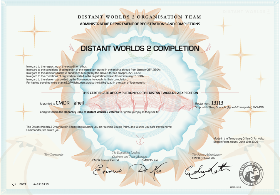 Distant Worlds 2 Completion Certificate
