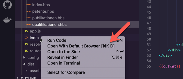 Visual Studio Code open-in-browser Extension