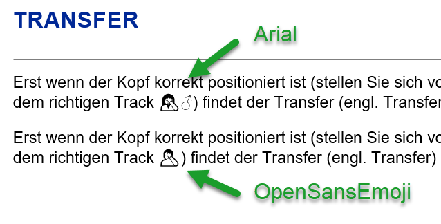 Example of OpenSansEmoji vs Arial