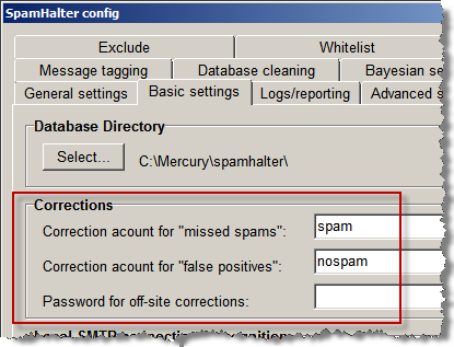 SpamHalter Basic Settings