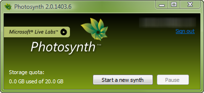 Photosynth - Start new synth dialog