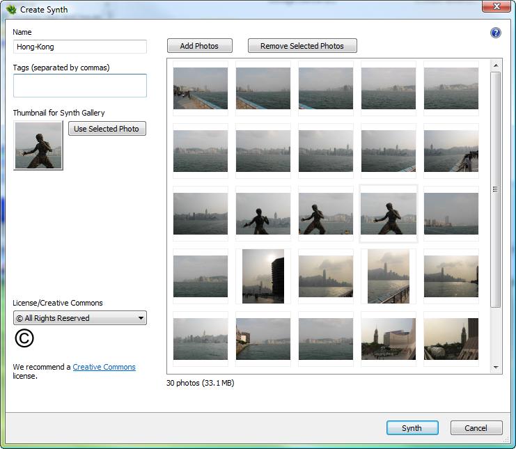 Photosynth - Create synth dialog