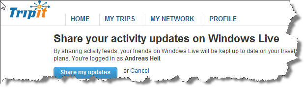 Share your activity on Windows Live