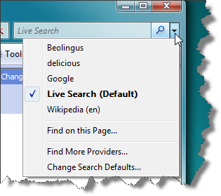 Search Providers Menu