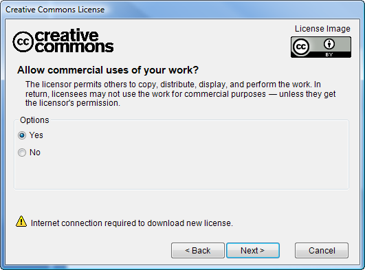 Allow commercial uses dialog