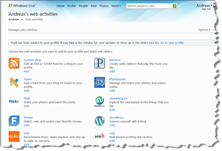 Windows Live Web activities