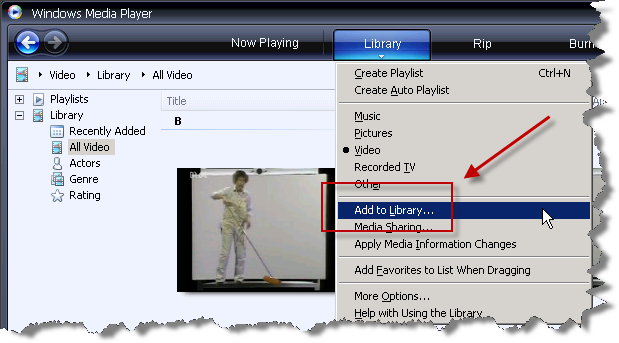 Windows Media Player 11 - Library Menu