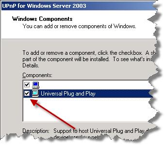 UPnP for Windows Server 2003