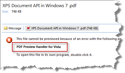 Outlook PDF Preview Handler for Vista