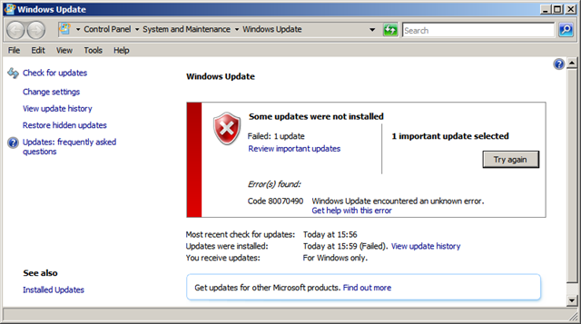 KB967723 important update was not installed