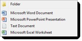 Modified Windows Explorer 'New' File Menu