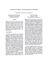 The Internet of Things - Context-based Device Federations