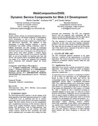 WebComposition/DGS: Dynamic Service Components for Web 2.0 Development