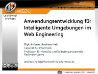 Anwendungsentwicklung fü Intelligente Umgebungen im Web Engineering