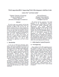 WebComposition/DGS: Supporting Web2.0 Developments with Data Grids