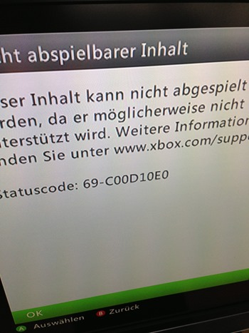 Statuscode: 69-C00D10E0
